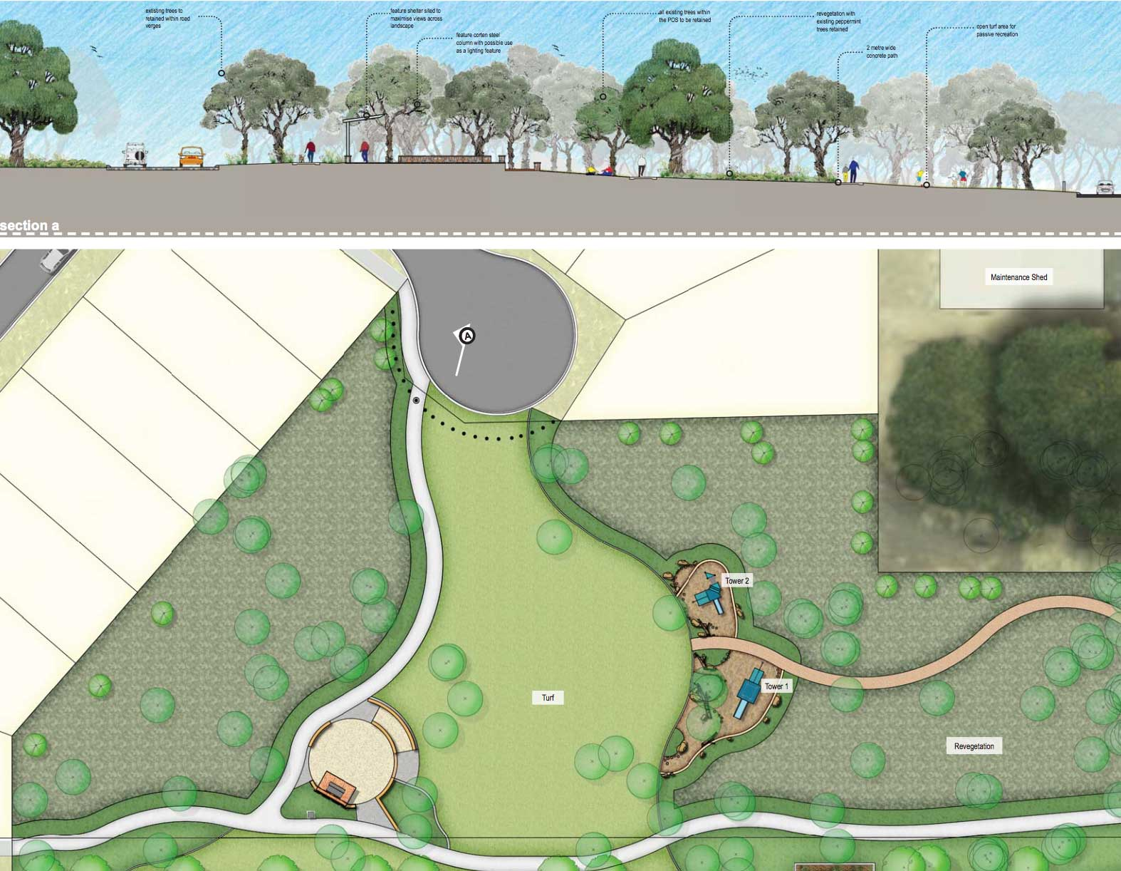 Parkland design concept, Dunsborough Lakes